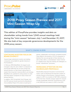 2018 PROXY SEASON PREVIEW