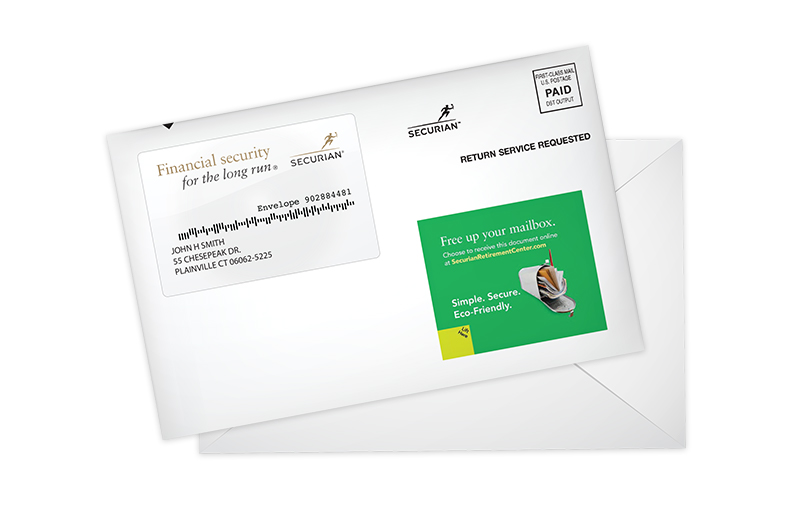 Graphic: Direct mail piece with paperless delivery call-to-action