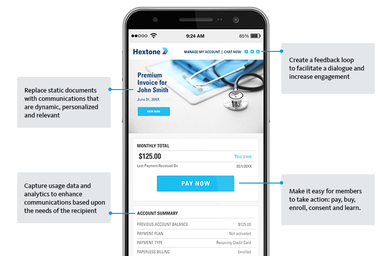 Graphic: Smartphone displaying a mobile-formatted bill with link to Pay Now
