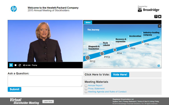 Virtual Shareholder Meeting screenshot