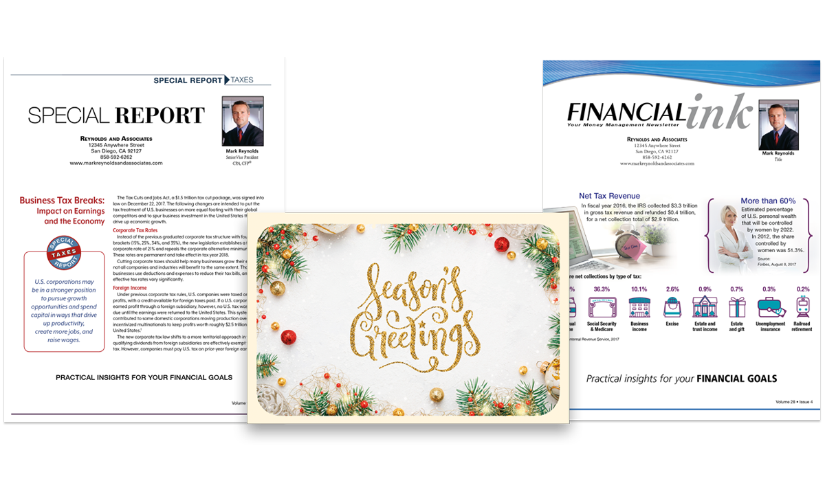 FINRA-reviewed newsletters and print marketing for financial advisors